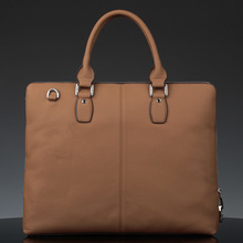 2016 Genuine leather handbag business man bag cross section briefcase with soft cowhide male lock shoulder diagonal package