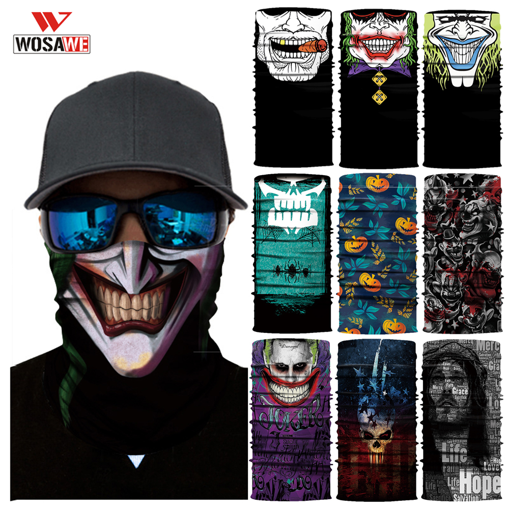 WOSAWE Motorcycle Head Scarf Balaclava Face Shield Anti-UV SKULL Ghost Bandana Halloween Scarf Mask Balaklava Neck Warmer