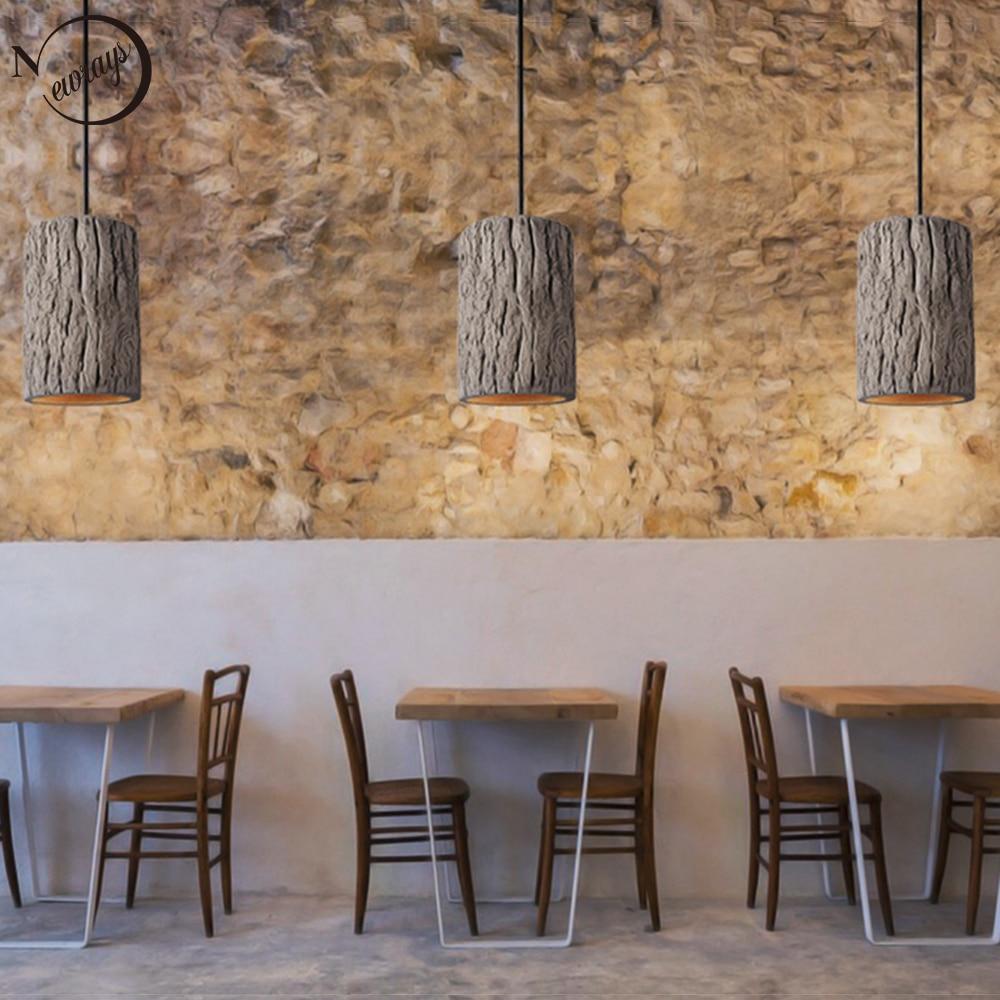 Retro Loft Nordic Stump Style Cement Pendant Lights Modern Led E27 Cord Pendant Lamp For Restaurant Living Room Bedroom Kitchen