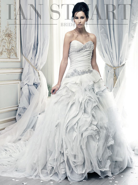 Beautiful waves tulle/organza Pale Blue wedding dress with dropped ...