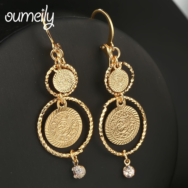 Oumeily Statement Earrings For Women Gold Coin Antique Round Drop Muslim Ic Jewelry Brincos
