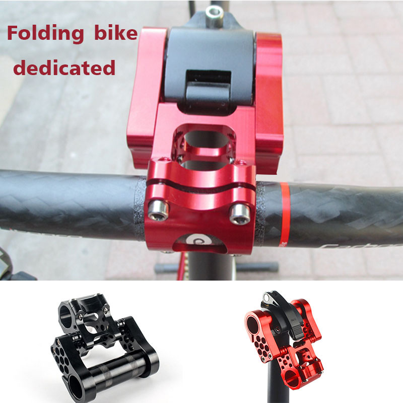 Folding Bicycle Adjustable Double Stem 25.4 Aluminum Alloy CNC Bicycle Strap Ultimate Folding Wheel Accessories Bike stem fouriers 35mm road mtb bicycle stem aluminum alloy cnc bike stem cycling stems length 80 140mm 8 degree