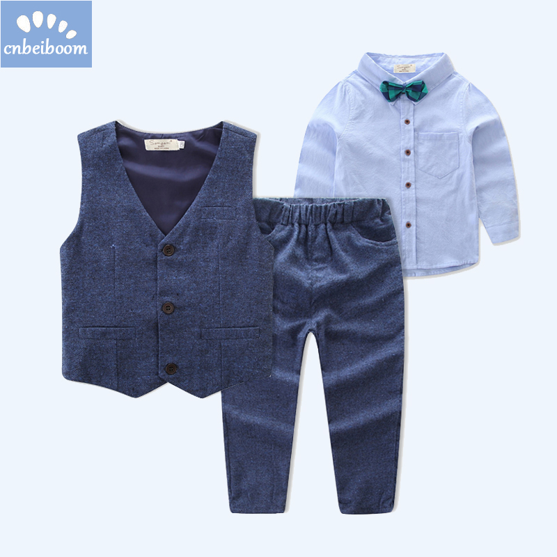 Children 2-7 Y boys clothing sets 2018 autumn long sleeve shirt + vest + pant gentleman boy birthday wedding party clothes suit