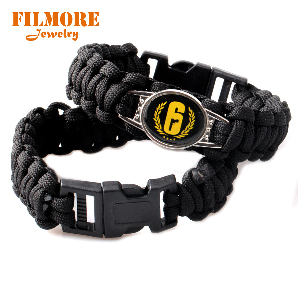 Filmore Jewelry Black Rainbow Six Game Bracelet for Men Nylon Rope Woven Bracelet Wrist Band Survival Military Bracelet Bangle