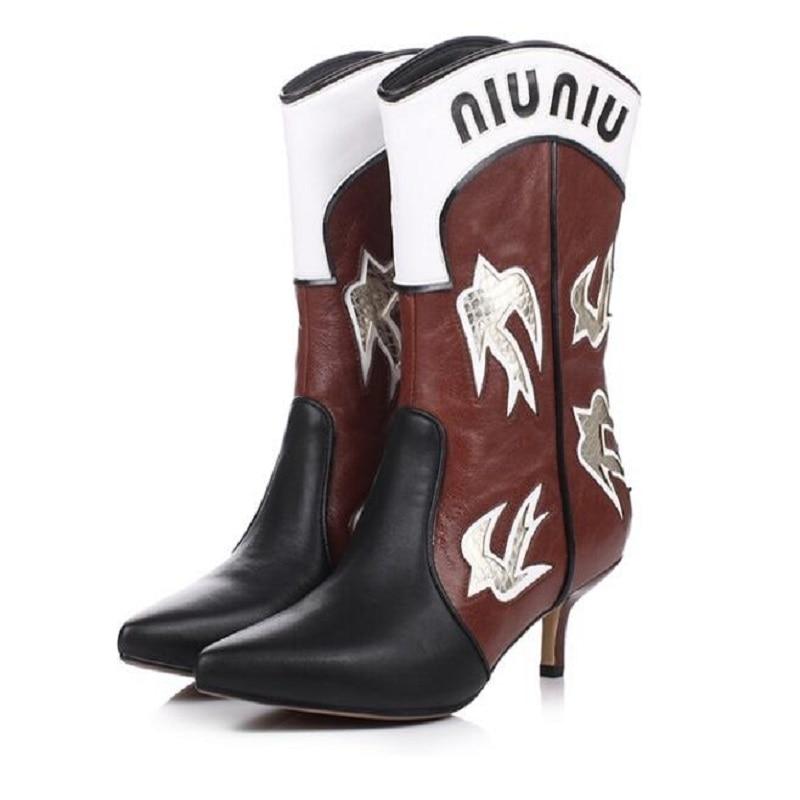 Pointu Cuir Grand Peluche Véritable Mode Haute Taille Le En rouge Plus Femmes Bottes 1110 Confortable Patchwork Courte Hiver Talons Chaussures Noir 46 Bout qw58paxC