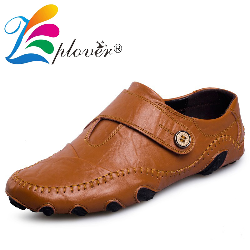 Zplover Plus Size Fashion British Style Men Causal Shoes Genuine Leather Men Shoes Soft Moccasins Oxfords Shoes For Men Loafers