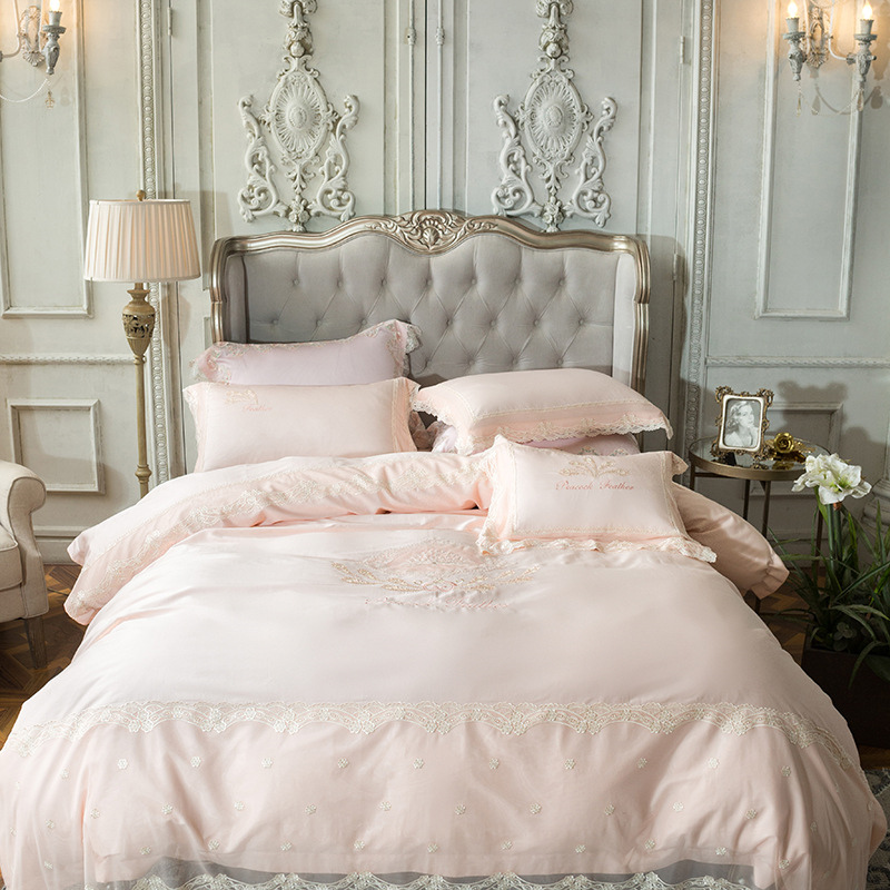 satin bedding sets 4pcs european Court lace pink bedclothes embroidery cotton 60s duvet cover solid color bed sheets drap de lit