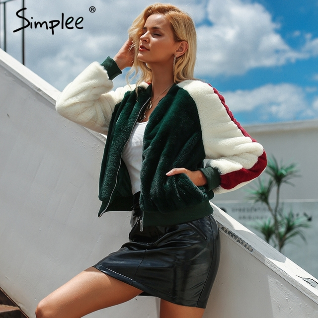 Simplee Furry faux fur coat women short Zipper bomber female jacket Autumn casual lady korean outerwear winter coat fashion 2018