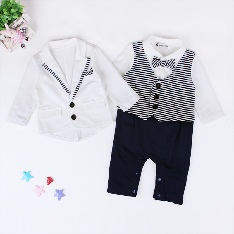 fb3f9abb506 Newborn Baby Boys Clothes Set Gentleman Striped Tie Romper + Jacket Coat  2pcs Clothing Set Infant