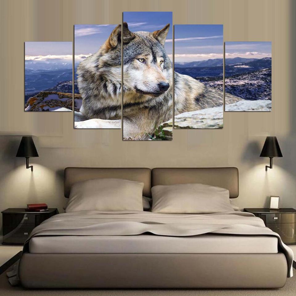 Canvas HD Print Painting Modular Pictures 5 Panel Animal Wolf Framework Wall Artwork Poster Modern Home Decoration Living Room