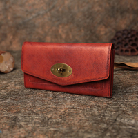 Clutch Long Style Women's Wallets 2019 Vintage Handmade Genuine Leather Purse FCTOSSR Cell Phone Pocket Lock Ladies Wallet
