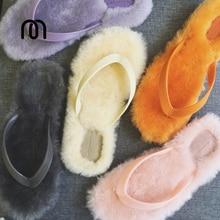 Millffy off-white schaffell flip-flop pantoffel sandalen frauen UNS 9