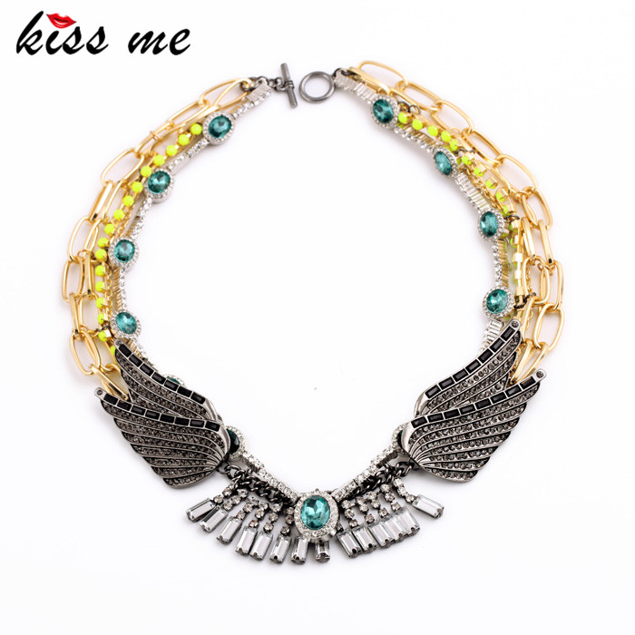 KISS ME Exaggerated layered Necklace Indian Jewelry Fashion Wings Collares Vintage Women Necklace vintage bird wings necklace for women