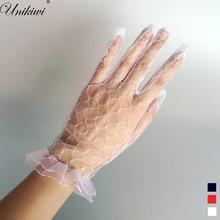 3 цвета. Женские прозрачные кружевные перчатки. Женские короткие сетчатые перчатки для вождения с защитой от солнца. Милые аксессуары для свадебной вечеринки