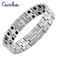 2014 Men Silver High Power Magnetic Bracelet Bio Health Healing Male Bangle Supreme Quality Stainless Steel