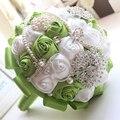 2016 свадебные аксессуары зеленый шелковыми лентами букет многоцветный градиент моделирования двухцветный роскошный свадебный букет