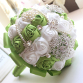 2016 Wedding Accessories Green Silk Ribbons Bouquet Multicolor Gradient Simulation Rose Two Color Luxurious Wedding Bouquet