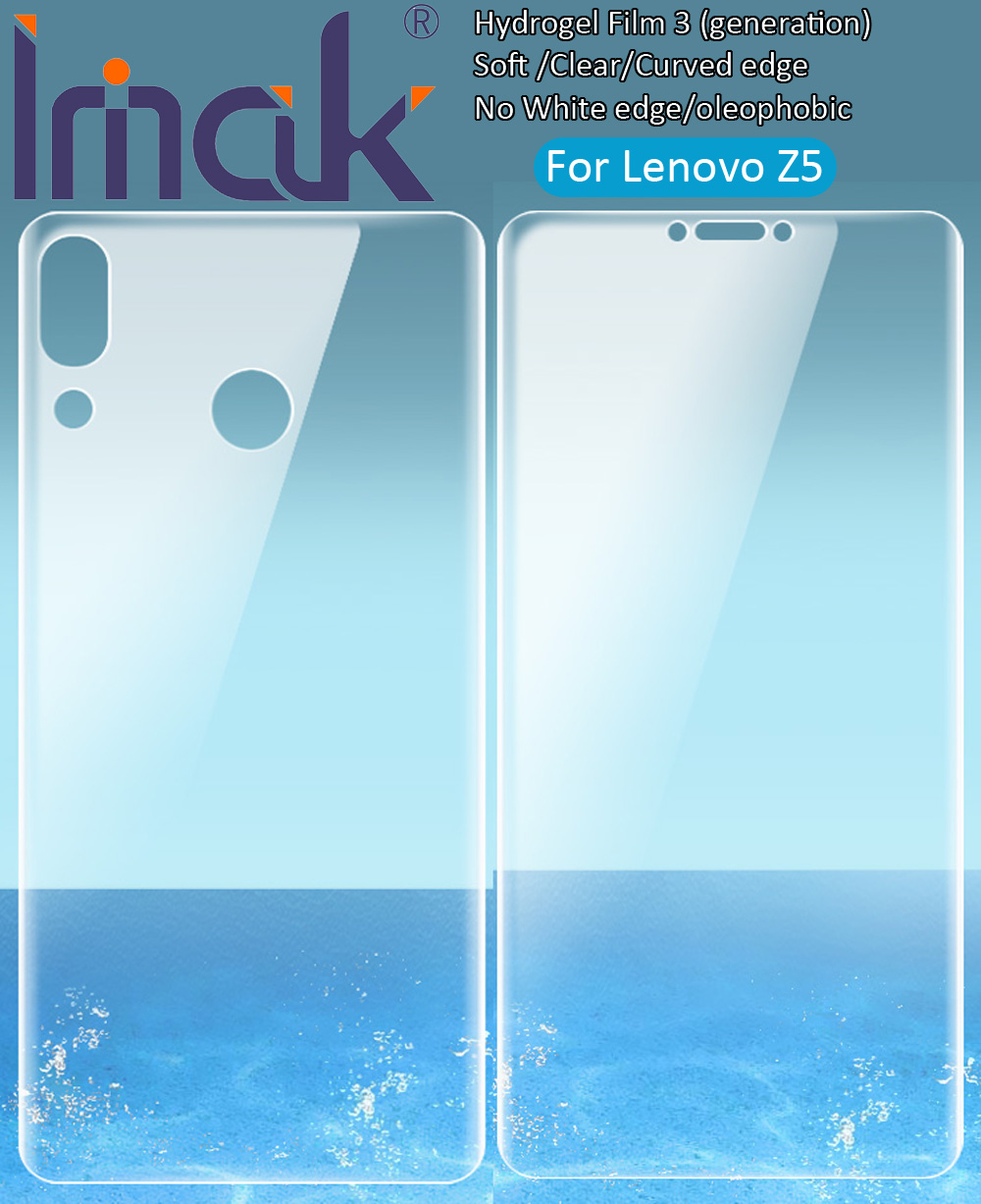 imak Hydrogel Film 3 III For Lenovo Z5 Rear Front Back Screen Protective Transparent oleophobic