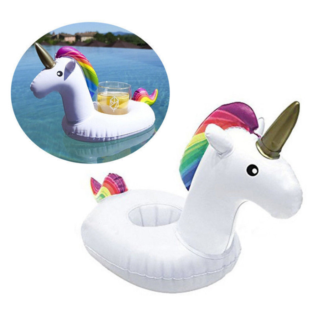 New Inflatable Drink Cup Holders Mini Flamingo Unicorn Birthday Party Supply Swimming Pool Accessories Bathing ...