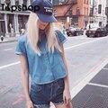2016 женщины лето демин рубашка с отложным воротником карман блузки хлопок летом с коротким топы