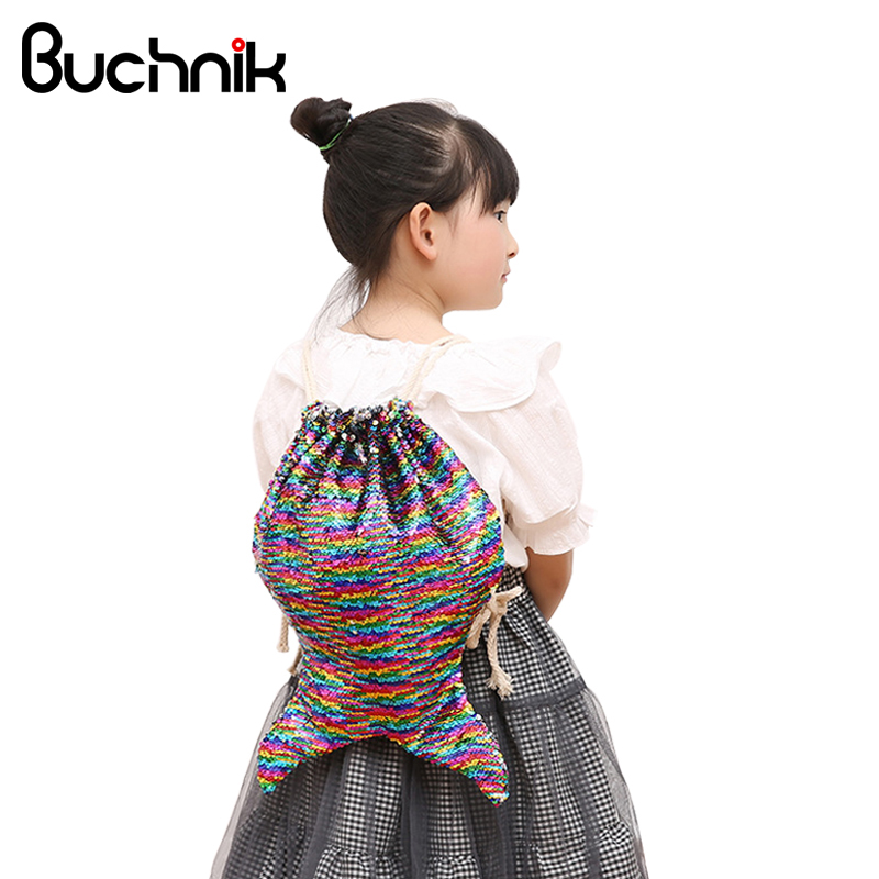 BUCHNIK Fashion Mermaid Sequin Backpacks Shoulder Reversible Women Girls Bling Shining Bag Glittering Drawstring Travel Pouch clear wood handle bag with sequin pouch