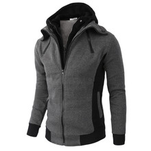 Jacket Men Fashion Solid Autumn Outerwear Coat Zipper Long S