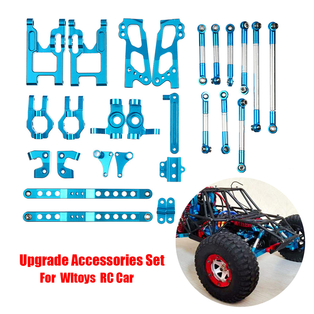 Upgrade Accessories Set For Wltoys 12428/12423 Feiyue FY01/FY02/FY03/12 27Pcs RC Car Blue Perfect Replacement Spare Part Metal запчасть rubena r12 tomcat 29 x 2 10