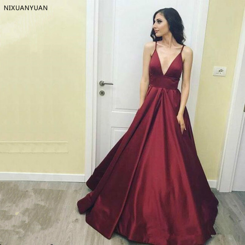 2019 Burgundy Simple Sexy V Neck   Prom     Dresses   Sexy Spaghetti Strap A Line Stain Formal Evening   Dresses   Long Party Gowns