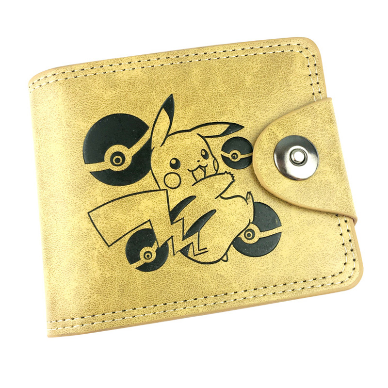 Japanese Anime Pokemon Wallets Cute Cartoon Pikachu Purse Card Holder Zipper Coin Pocket Embossing LOGO Leather Short Wallet