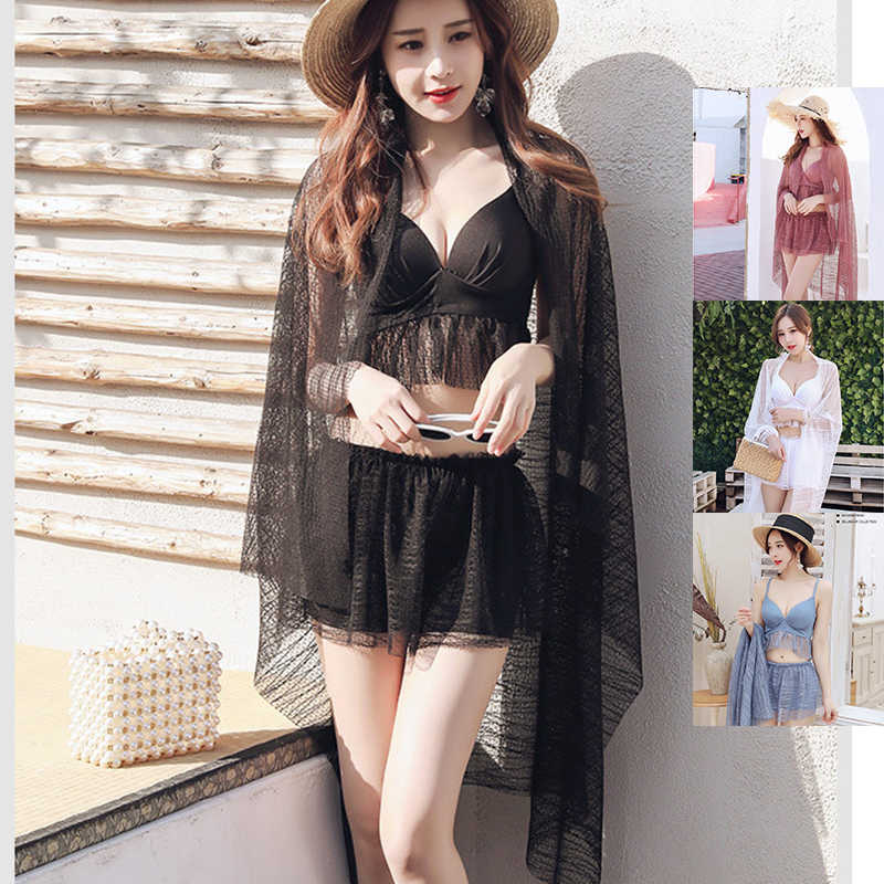 4 Color Three Piece Set Women Beach Tunic Sexy Lace Sleeveless V-Neck Black Pink Sexy Three Piece Suit Caps Summer Beach Clothes