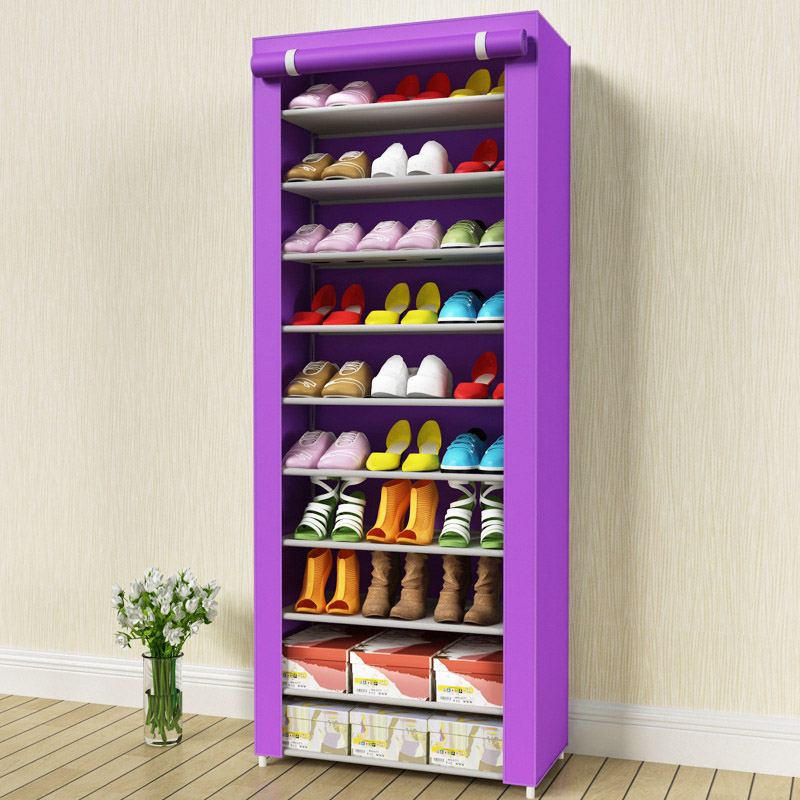 Shoe cabinet 11 layer 10-grid stainless steel fabrics large shoe rack organizer removable shoe storage for home furnitureShoe cabinet 11 layer 10-grid stainless steel fabrics large shoe rack organizer removable shoe storage for home furniture
