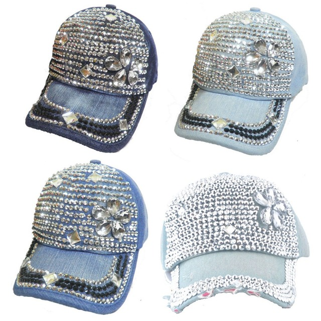 Fashion Women Chic Whole Rhinestone   Crystal Flower Studded Denim Hats  Sparkly Visor Bling Baseball Caps Free Shipping d91c4df4cd32