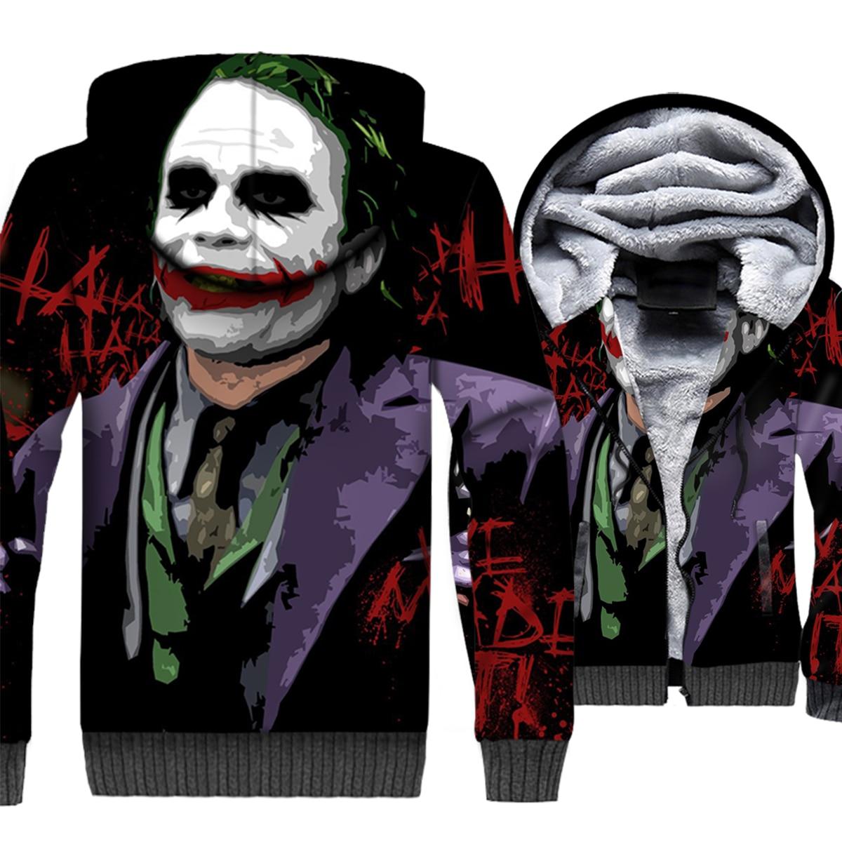 Batman Villains Joker Hoodie Men Arkham Hooded Sweatshirt Coat 2018 Winter Thick Fleece Warm Jacket Hip Hop Streetwear