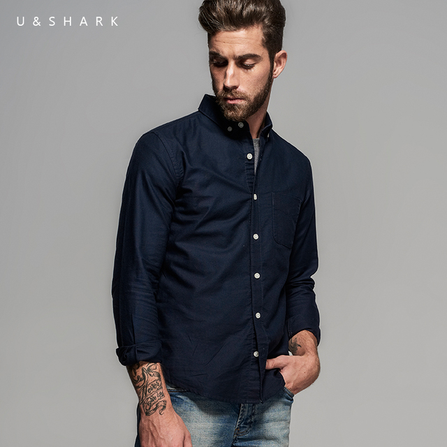 U&Shark Fashion Navy Blue Button Down Collar Oxford Cotton Shirt ...
