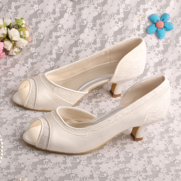 off white wedding shoes white satin fabric women pumps low heeled ivory shoes 6227