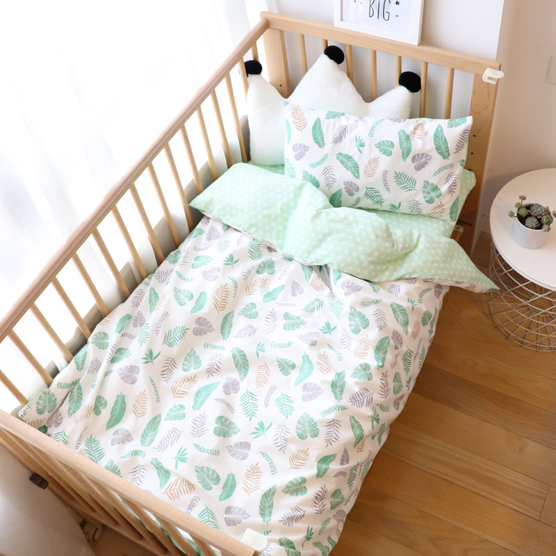 Baby Bedding Set 5Pcs Cartoon Woven Cotton Bed Linen For Kids Crib Bedding With Filler For Boys Girls Baby Nursery Decor
