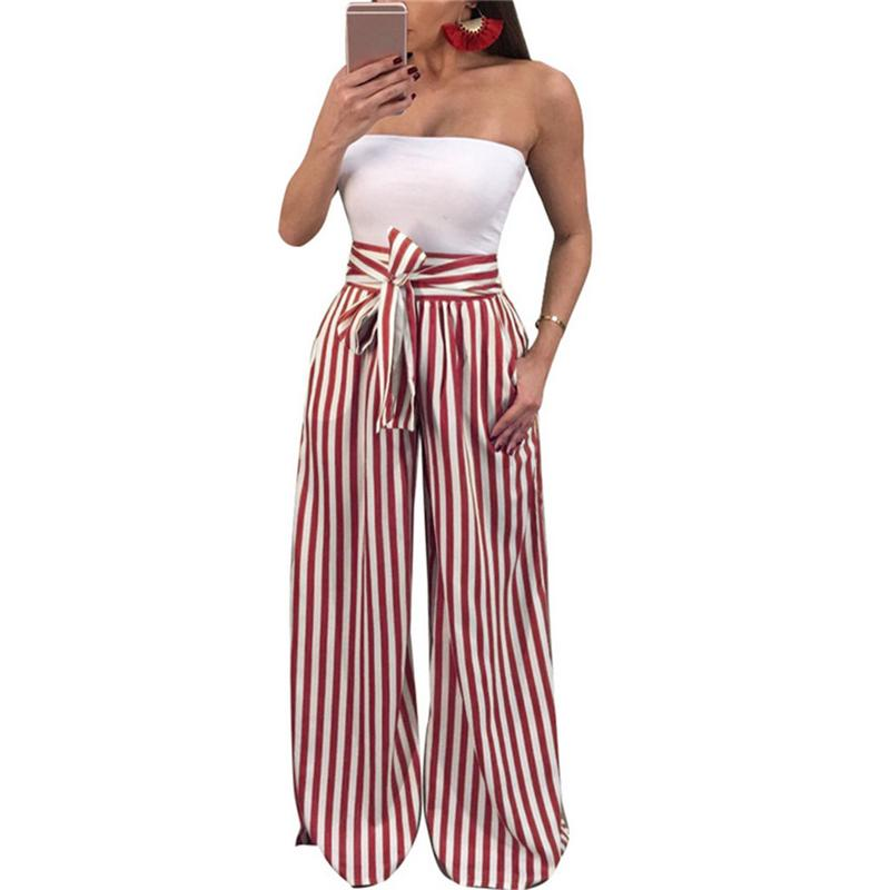 S-2XL 2019 Fashion Summer   Wide     Leg     Pants   Women High Waist Plaid Striped Loose Palazzo   Pants   Elegant Office Ladies Trousers