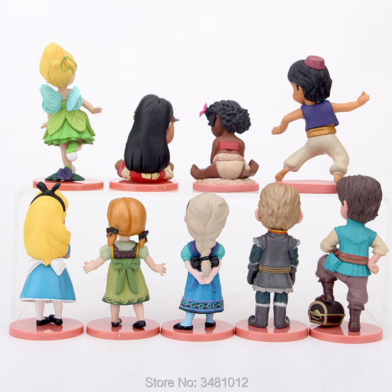 9pcs Elsa Alice Anna Moana Lilo Pelekai Princess Dolls PVC Action Figures Tinker Bell Kristoff Figurines Kids Toys set for Girls in Action Toy Figures from Toys Hobbies
