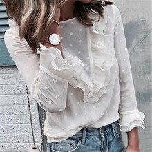 цены на Women Ladies Blouses Casual Ruffles Lace Polka Dot O Neck Boho Beach Shirt Long Sleeve Blouse blusas mujer de moda W3 в интернет-магазинах