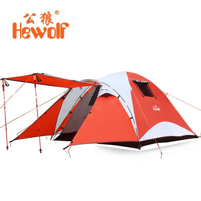 Hewolf Waterproof Beach Fishing Tents 4 Person Outdoor Camping Tent Travel Family Tourist Tent Hiking 4 Season Double Layer outdoor double layer camping tent family tent 3 person beach garden picnic fishing hiking travel use