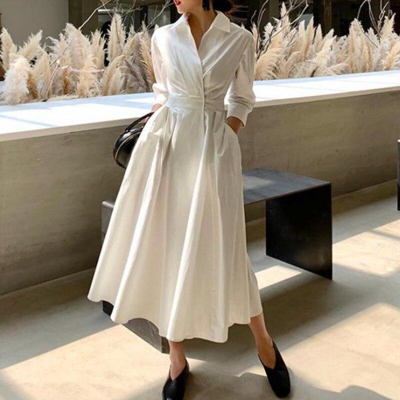 TVVOVVIN Women Dress Temperament White Dress Cotton Seven Sleeves High Waist Large Hem Summer Dresses Spring