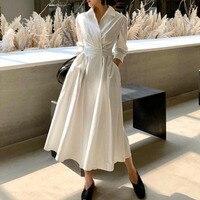 TVVOVVIN Women Dress Temperament White Dress Cotton Seven Sleeves High Waist Large Hem Summer Dresses Spring Autumn 2019 V157