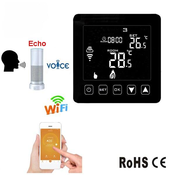 Alexa Echo haut-parleur contrôle HY08WE-2 16A noir App Wifi Thermostat pour chauffage infrarouge électrique Film de chauffage par le sol en carbone