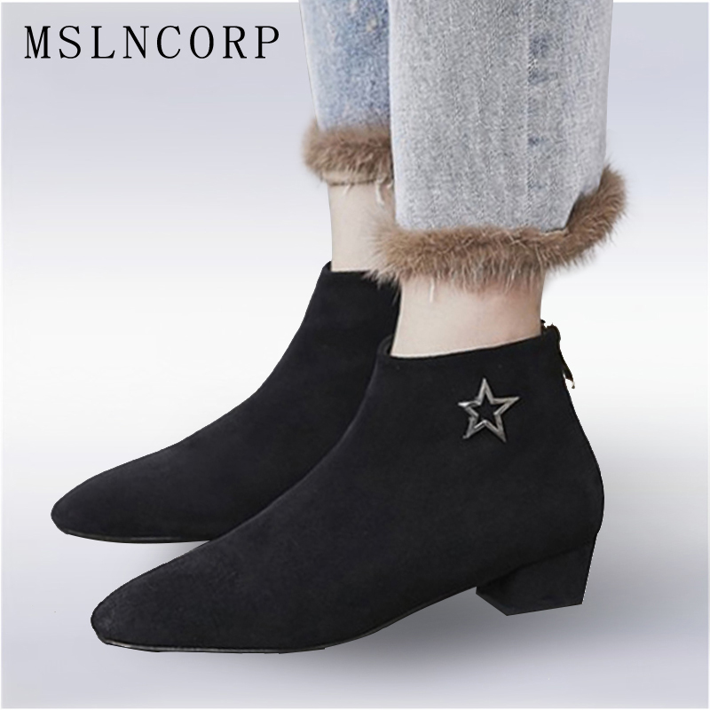 Plus Size 34-43 Spring Autumn Women ankle Boots Low heeled Ladies Nubuck Leather Fashion pointed toe Martin Boots Casual Shoes yween spring autumn men boots hot sale lace up solid nubuck leather fashion motorcycle boot outdoor man casual martin shoe