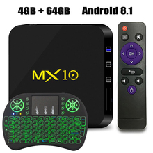 купить MX10 Android TV BOX Android 8.1 4GB 64GB RK3328 Quad Core 64bit 4K HDR 2.4Ghz WIFI USB 3.0 1080P Smart Tv Media Player 4GB 32GB дешево