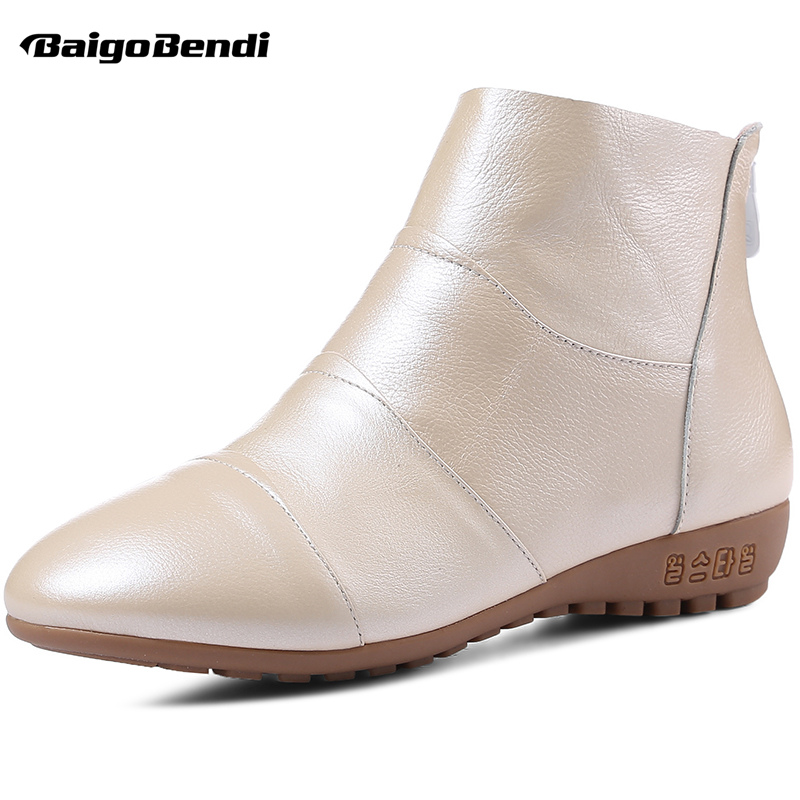 Big Size US10 11 Eur Size 41 42 43 44 Woman Casual Boots Genuine Leather Flat Heel Round Toe Ankle Boots Ladies Winter Shoes 2017 real top cover heel open casual sapato feminino melissa genuine big size retro solid square heel shoes woman ladies womens