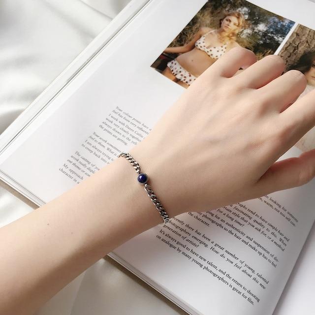 Sterling Silver 925 Bracelets For Women Fine Jewelry Vintage Retro Round Lapis Mini Same Kind Anchor