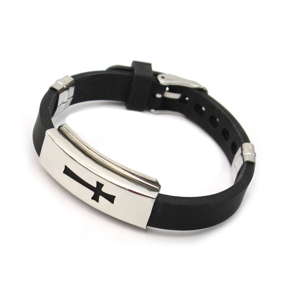 2017 New Fashion Men Stainless Steel Cross Bracelet Black Rubber Cuff  Bangles Jewelry Accessories Gift(
