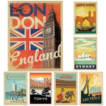 París/Roma/España/SYDNEY/Rusia signos de viaje VINTAGE populares países ciudades Retro pared recubierta adornos de pared de papel arte pintura