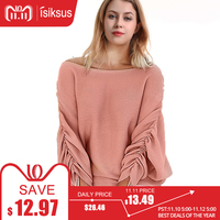Isiksus Pink Off Shoulder Knitted Sweater Women Winter Loose Long Sleeve Sweaters Female Knitted Pullover Womens 2018 SW005